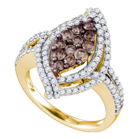 10kt Yellow Gold Womens Round Cognac-brown Color Enhanced Diamond Wide Cluster Ring 1-1/2 Cttw