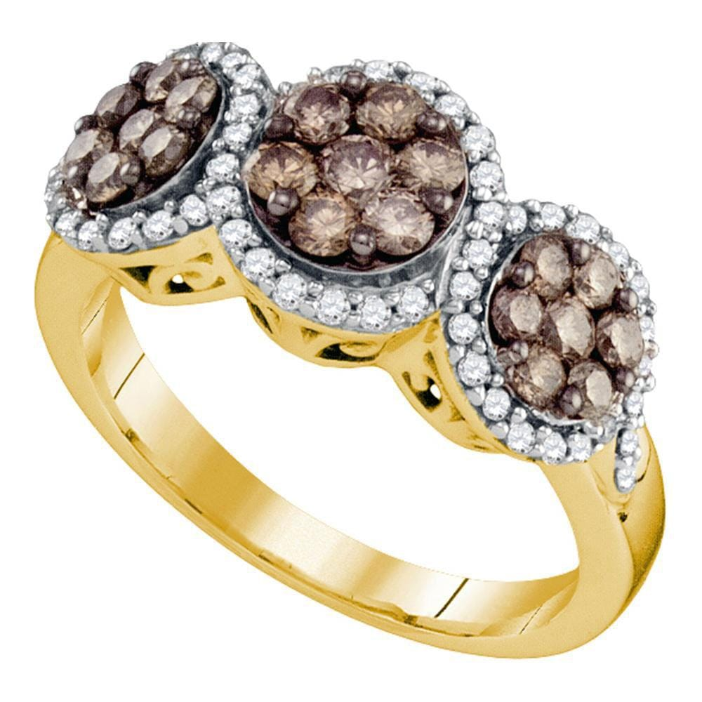 10kt Yellow Gold Womens Round Brown Diamond Triple Flower Cluster Ring 1 Cttw