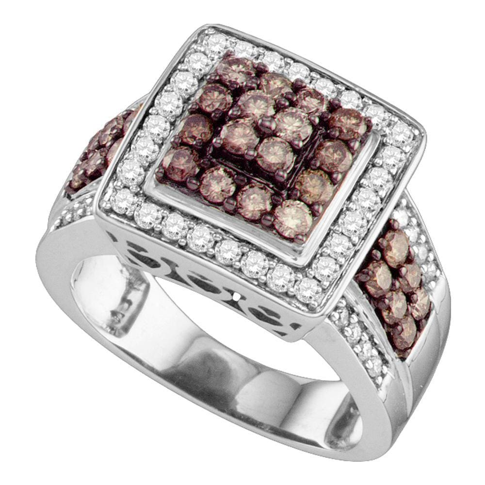 10kt White Gold Womens Round Brown Diamond Square Cluster Ring 1-1/2 Cttw
