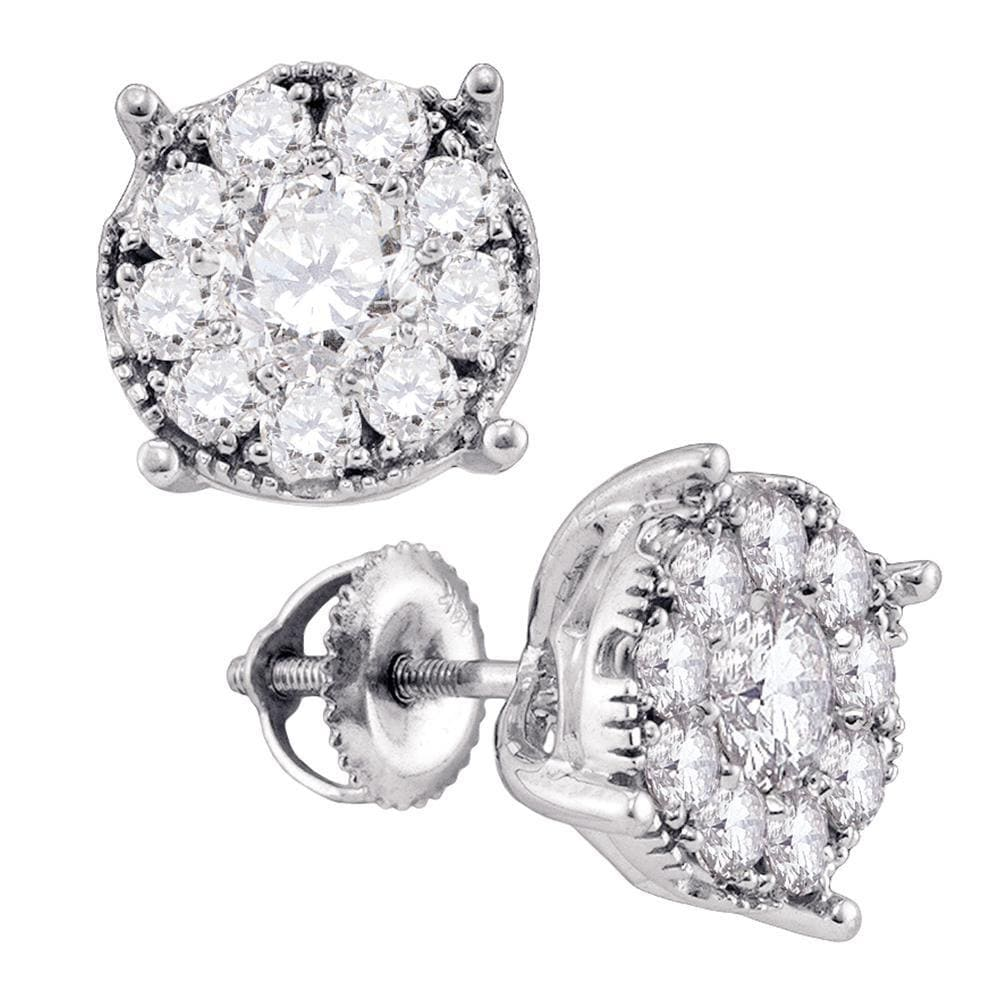 14kt White Gold Womens Round Diamond Cluster Earrings 1/3 Cttw