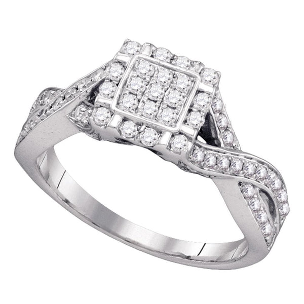 Sterling Silver Womens Round Diamond Square Cluster Twist Ring 1/2 Cttw