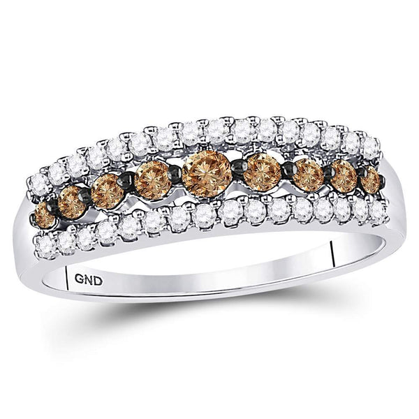 10k White Gold Womens Cognac-brown Color Enhanced Diamond Band Ring 1/2 Cttw Size 5