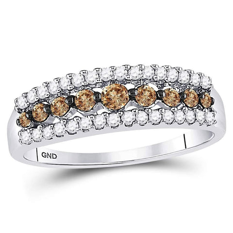 10k White Gold Womens Brown Diamond Band Ring 1/2 Cttw Size