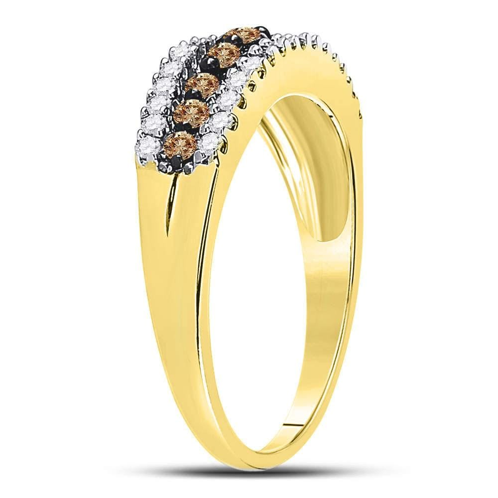 10k Yellow Gold Womens Brown Diamond Band Ring 1/2 Cttw Size