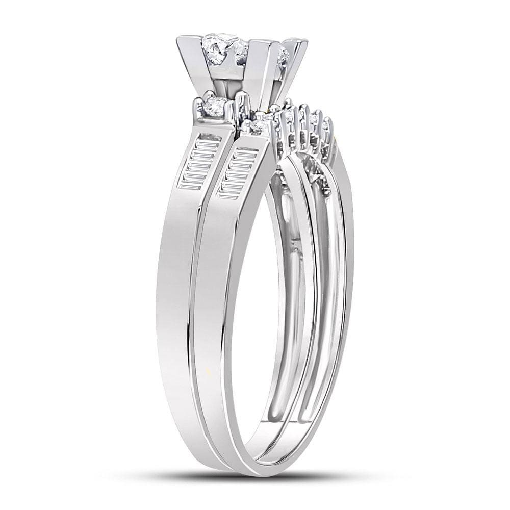 10kt White Gold Womens Princess Diamond Bridal Wedding Engagement Ring Band Set 1/2 Cttw - Size 5