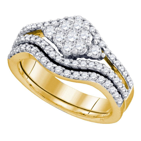 10kt Yellow Gold Womens Diamond Flower Cluster Bridal Wedding Engagement Ring Band Set 3/4 Cttw
