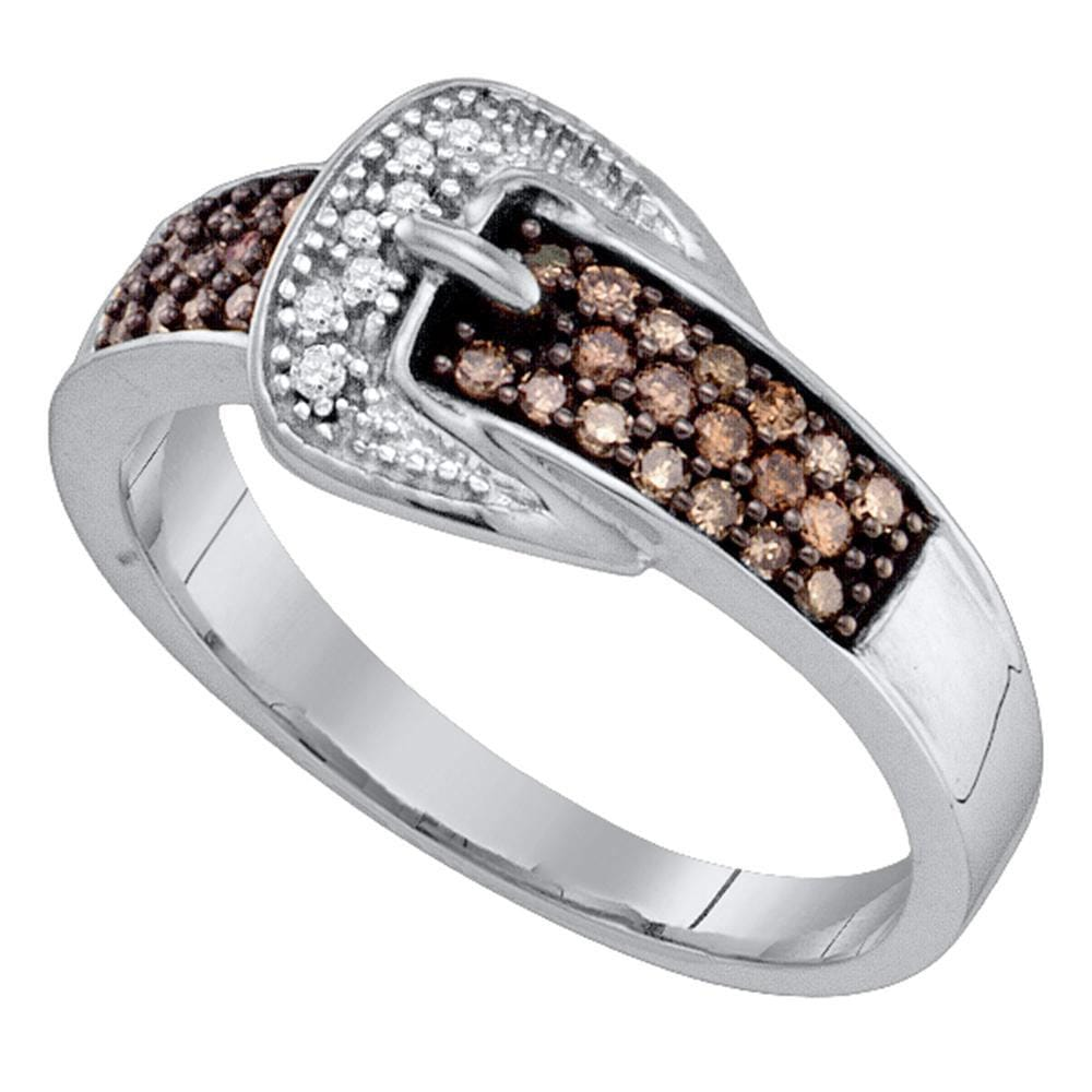 10kt White Gold Womens Round Brown Belt Buckle Diamond Band Ring 1/4 Cttw