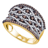 10kt Yellow Gold Womens Round Cognac-brown Color Enhanced Diamond Stripe Fashion Ring 1.00 Cttw