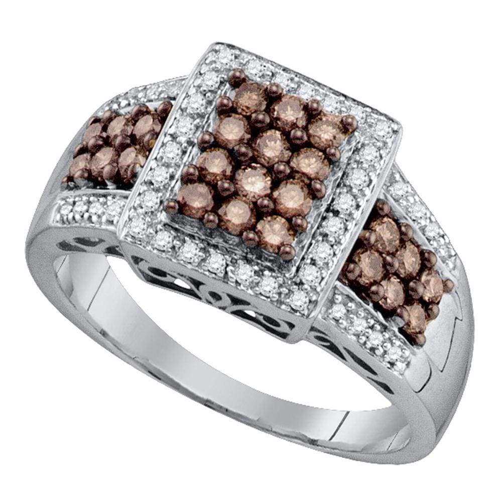 10kt White Gold Womens Round Brown Diamond Square Cluster Ring 5/8 Cttw