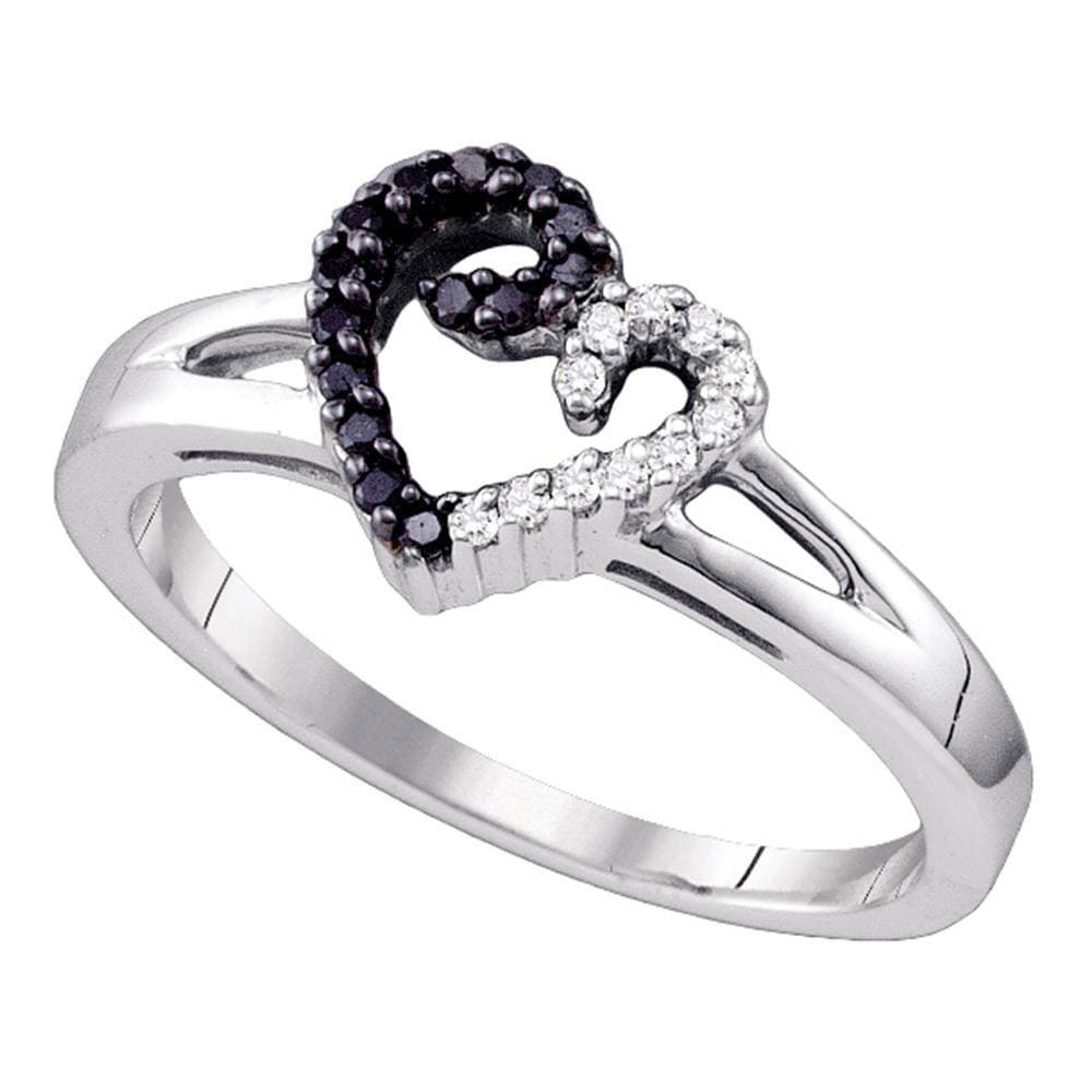 Sterling Silver Black Color Enhanced White Diamond Heart Ring 1/6 Cttw Size 6