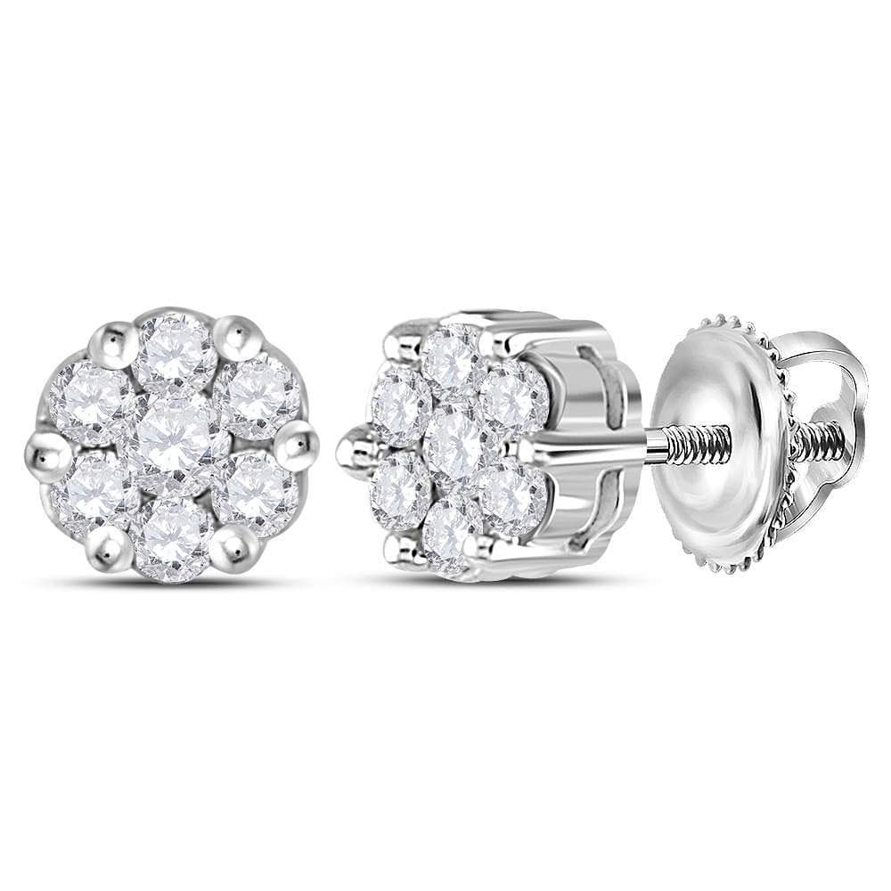 Sterling Silver Womens Round Diamond Flower Cluster Screwback Stud Earrings 1/4 Cttw