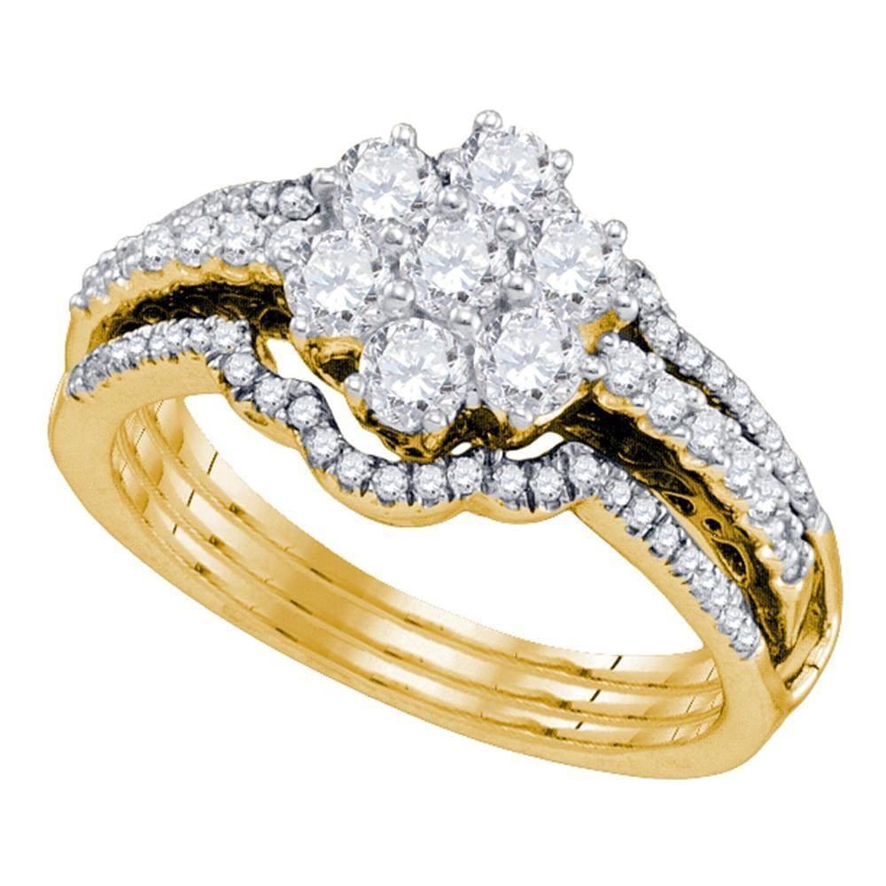 14kt Yellow Gold Womens Diamond Cluster Bridal Wedding Engagement Ring Band Set 1.00 Cttw