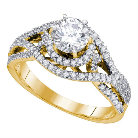 14K Yellow Gold Womens Round Diamond Woven Openwork Bridal Wedding Engagement Ring 7/8 Cttw