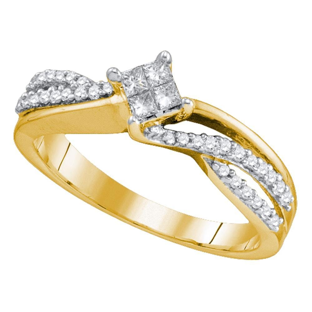 14kt Yellow Gold Womens Princess Diamond Cluster Bridal Wedding Engagement Ring 1/4 Cttw