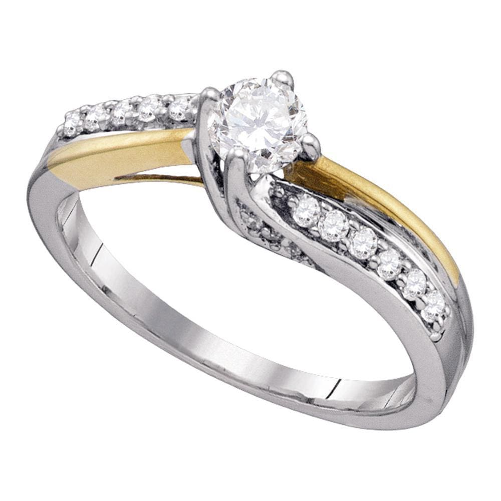 14k White Gold Round Diamond Solitaire 2-Tone Bridal Wedding Engagement Ring 1/2 Cttw