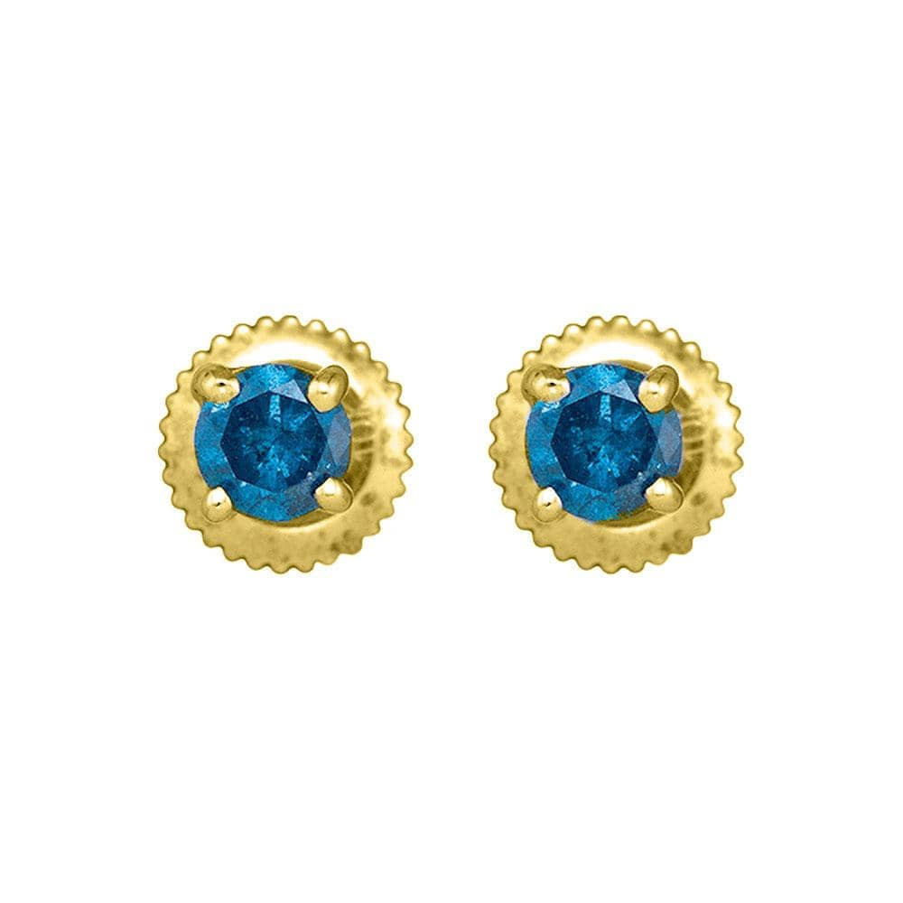 10kt Yellow Gold Womens Round Blue Color Enhanced Diamond Solitaire Earrings 1/2 Cttw