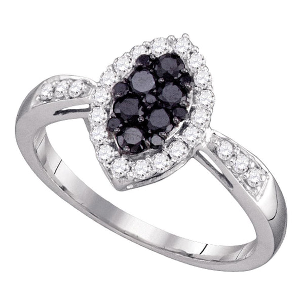 10kt White Gold Womens Round Black Color Enhanced Diamond Oval Cluster Ring 1/2 Cttw