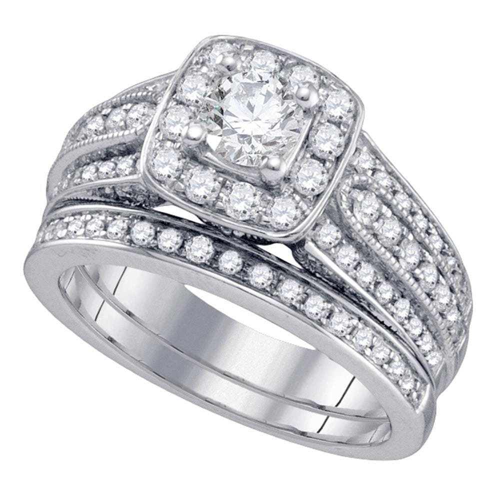 14kt White Gold Womens Round Diamond Halo Bridal Wedding Engagement Ring Band Set 1-1/2 Cttw