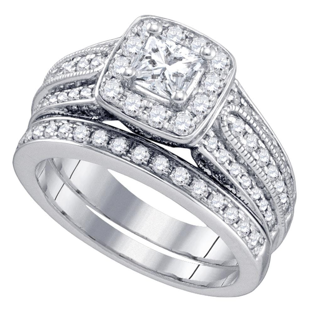 14kt White Gold Womens Princess Diamond Solitaire Halo Bridal Wedding Engagement Ring Set 1-1/2 Cttw
