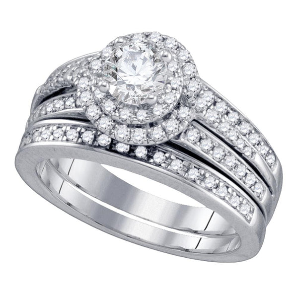 14kt White Gold Womens Round Diamond Bridal Wedding Engagement Ring Band Set 1-1/5 Cttw