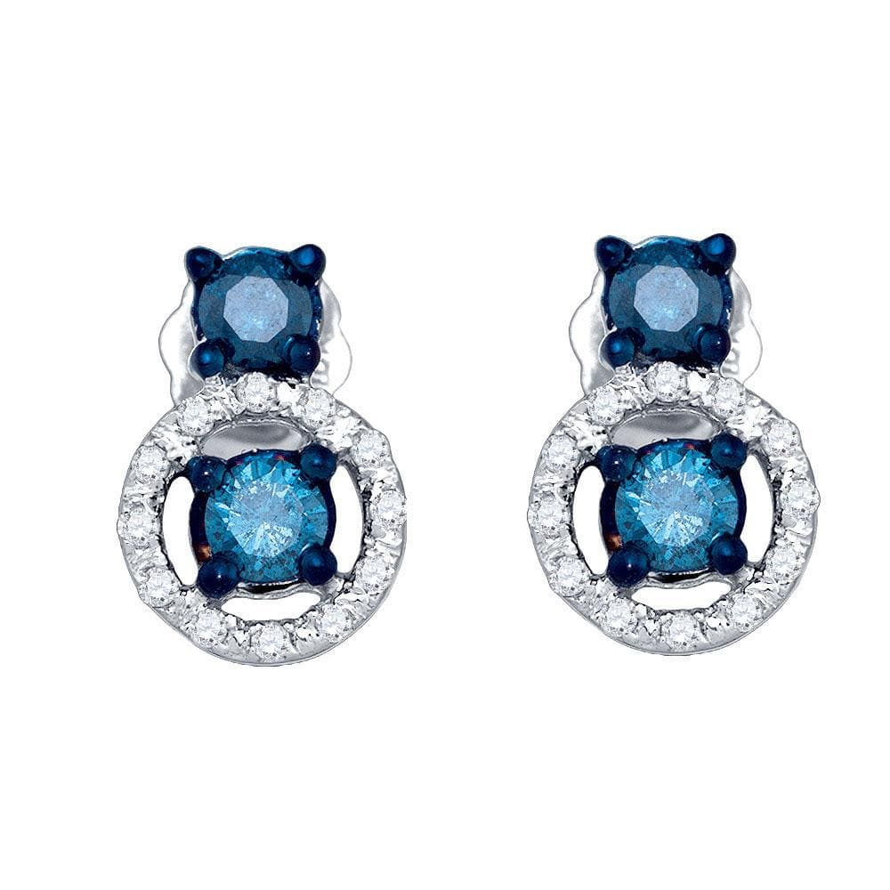10kt White Gold Womens Round Blue Color Enhanced Diamond Stud Earrings 1/2 Cttw