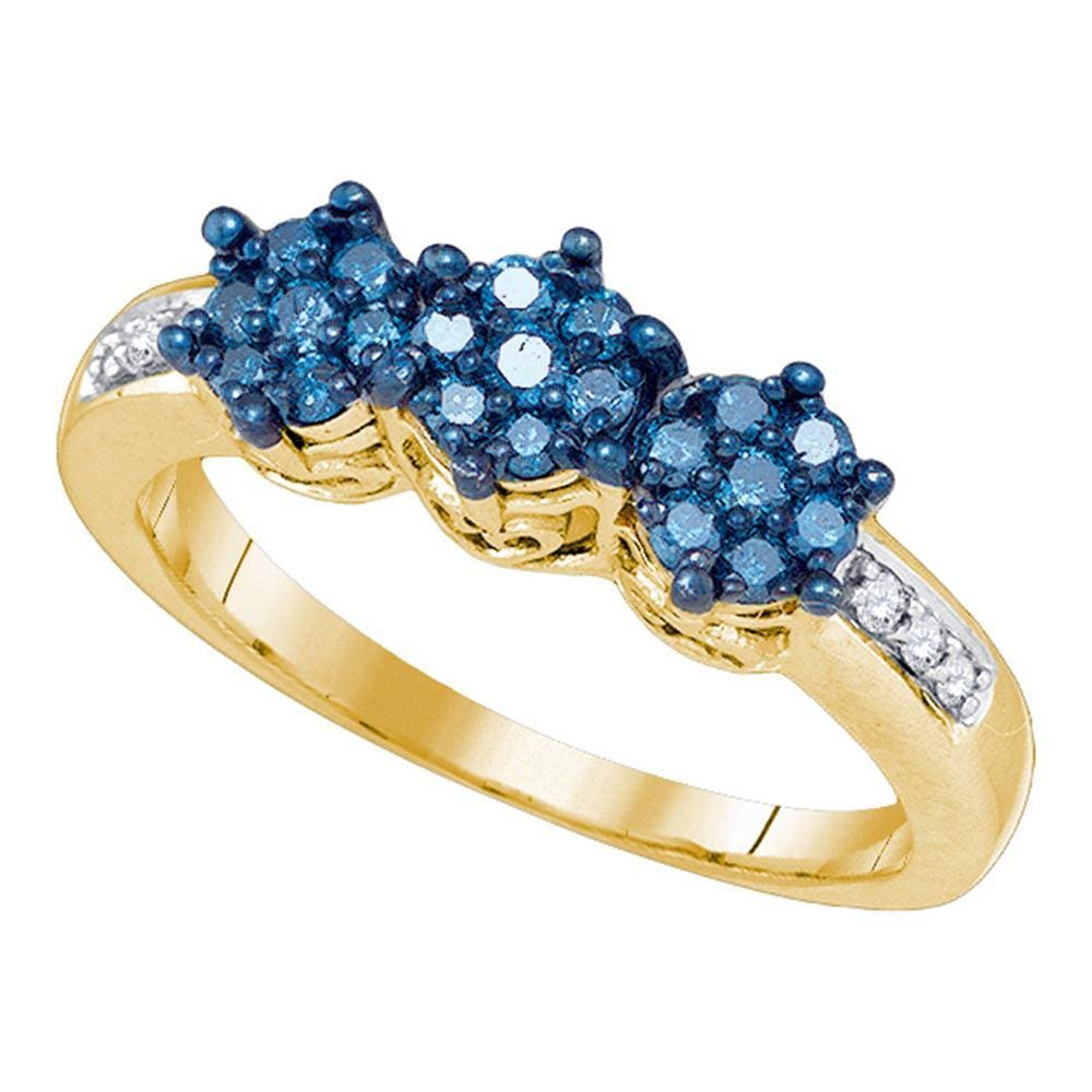 10kt Yellow Gold Womens Round Blue Color Enhanced Diamond Triple Flower Cluster Ring 1/3 Cttw