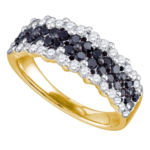10kt Yellow Gold Womens Round Black Color Enhanced Diamond Band Ring 1-1/10 Cttw