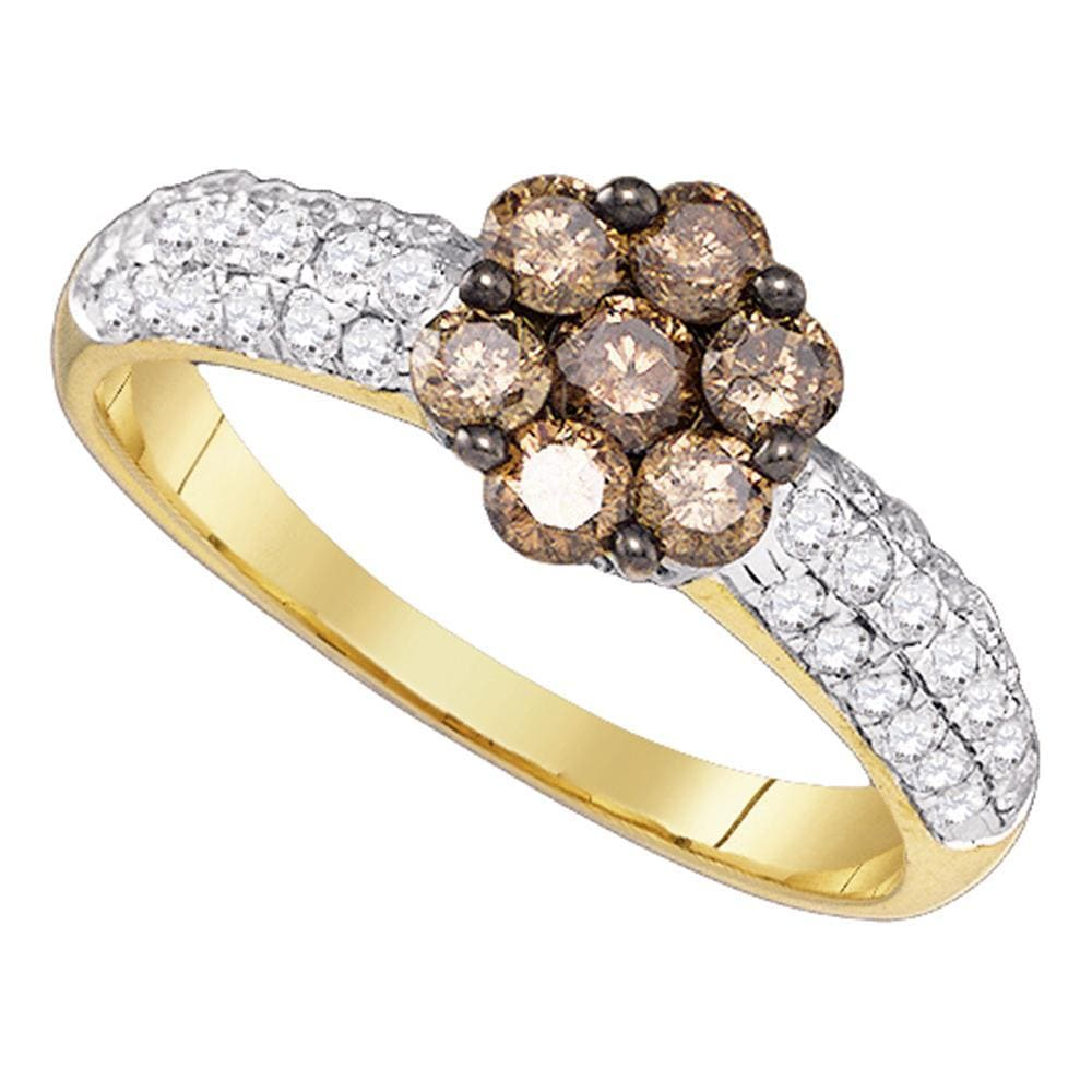 10kt Yellow Gold Womens Round Cognac-brown Color Enhanced Diamond Flower Cluster Ring 7/8 Cttw