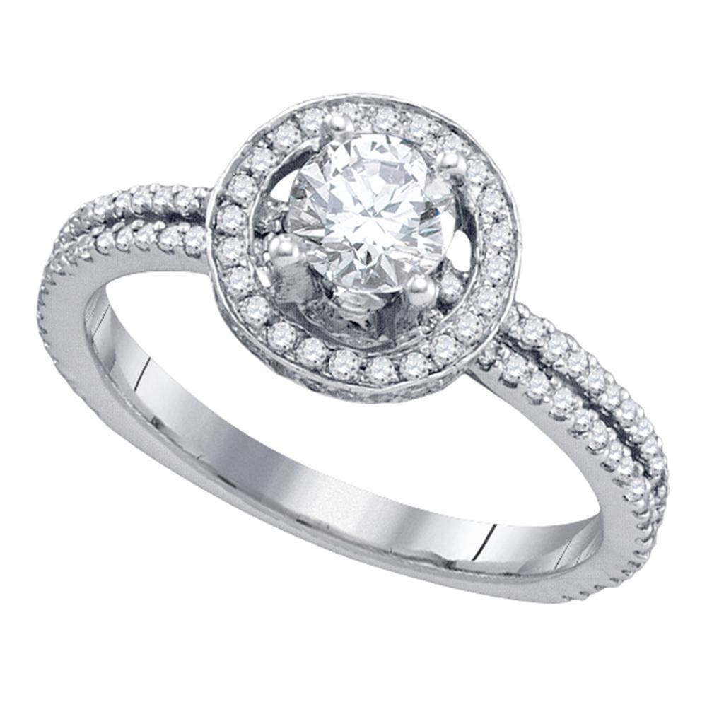14k White Gold Womens Round Diamond Solitaire Bridal Wedding Engagement Ring 7/8 Cttw