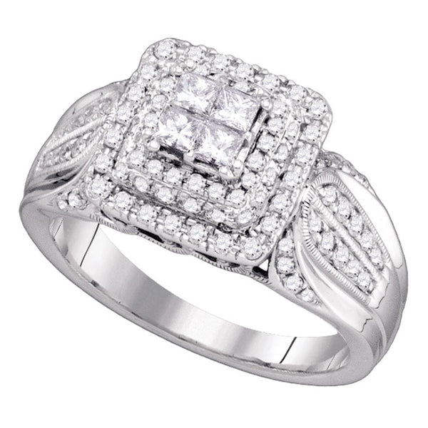 14kt White Gold Womens Princess Diamond Cluster Bridal Wedding Engagement Ring 3/4 Cttw