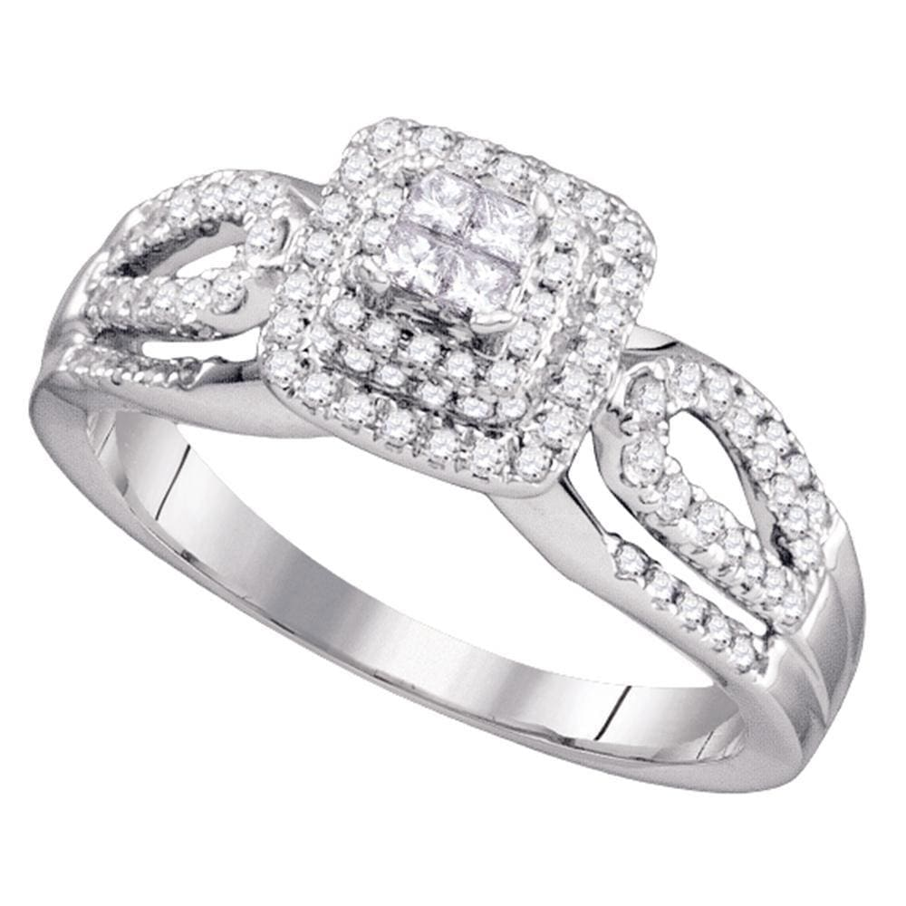 14kt White Gold Womens Princess Diamond Cluster Ring 1/2 Cttw