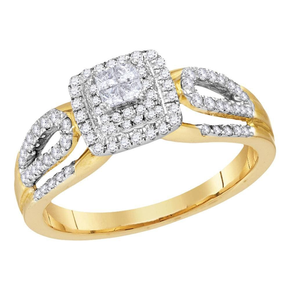 14kt Yellow Gold Womens Princess Diamond Cluster Ring 1/2 Cttw