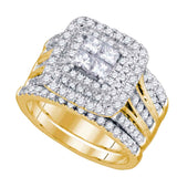 14kt Yellow Gold Womens Princess Diamond Cluster Halo Bridal Wedding Engagement Ring Band Set 2.00 Cttw