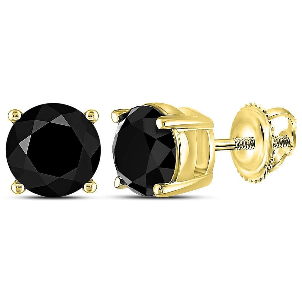 10kt Yellow Gold Unisex Round Black Color Enhanced Diamond Solitaire Earrings 3 Cttw