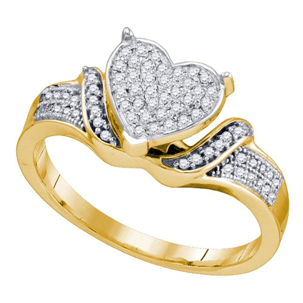 10kt Yellow Gold Womens Round Diamond Elevated Heart Cluster Ring 1/5 Cttw
