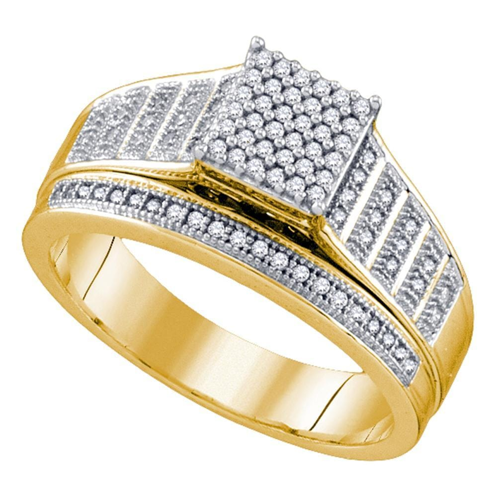 10kt Yellow Gold Womens Round Diamond Rectangle Cluster Bridal Wedding Engagement Ring 1/4 Cttw
