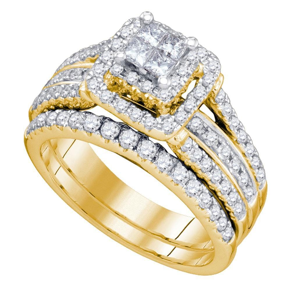 14kt Yellow Gold Womens Princess Diamond Elevated Bridal Wedding Engagement Ring Band Set 1-1/5 Cttw