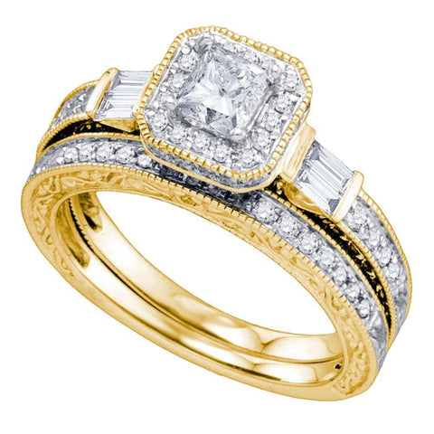 14kt Yellow Gold Womens Princess Diamond Bridal Wedding Engagement Ring Band Set 1-1/5 Cttw