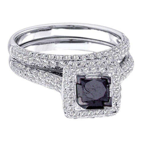 14k White Gold Womens Black Princess Diamond Solitaire Pave Wedding Bridal Ring Set 1-1/4 Cttw Size 6