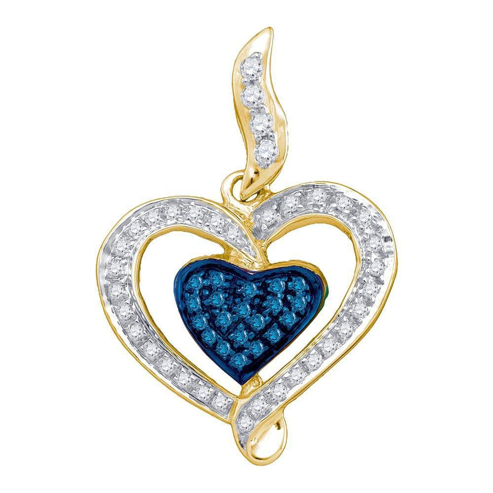 10kt Yellow Gold Womens Round Blue Color Enhanced Diamond Heart Pendant 1/4 Cttw