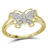 10kt Yellow Gold Womens Round Diamond Butterfly Bug Cluster Ring 1/12 Cttw