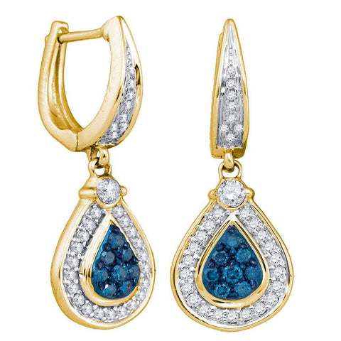 10kt Yellow Gold Womens Round Blue Color Enhanced Natural Diamond Teardrop Dangle Earrings 1/2 Cttw