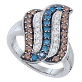 10kt White Gold Womens Round Cognac-brown Blue Color Enhanced Diamond Stripe Cluster Ring 7/8 Cttw