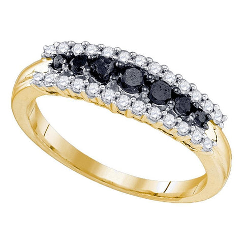 10kt Yellow Gold Womens Round Black Color Enhanced Diamond Band Ring 1/2 Cttw