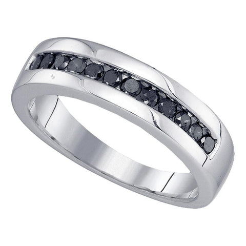 Sterling Silver Mens Round Black Color Enhanced Diamond Wedding Band Ring 1/2 Cttw