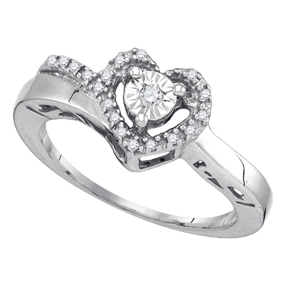 Sterling Silver Womens Round Diamond Heart Love Promise Ring 1/12 Cttw