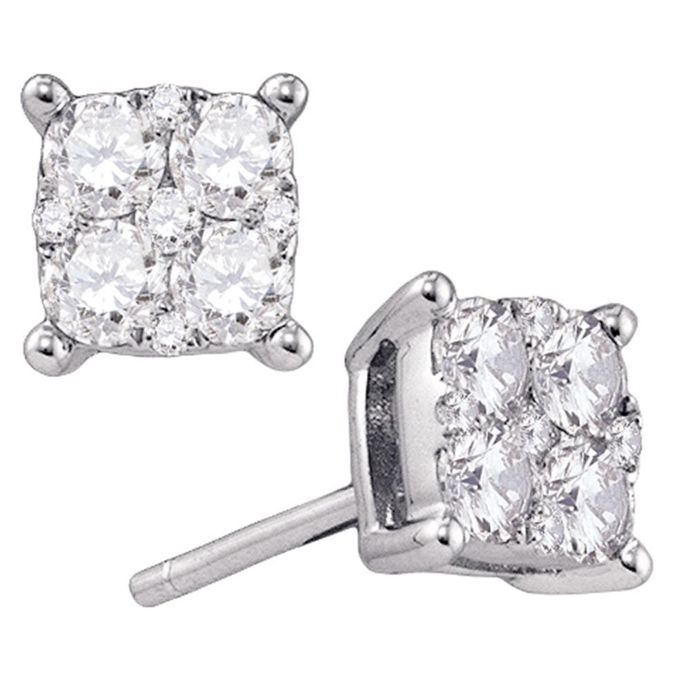 18kt White Gold Womens Round Diamond Square Cluster Stud Earrings 3/4 Cttw