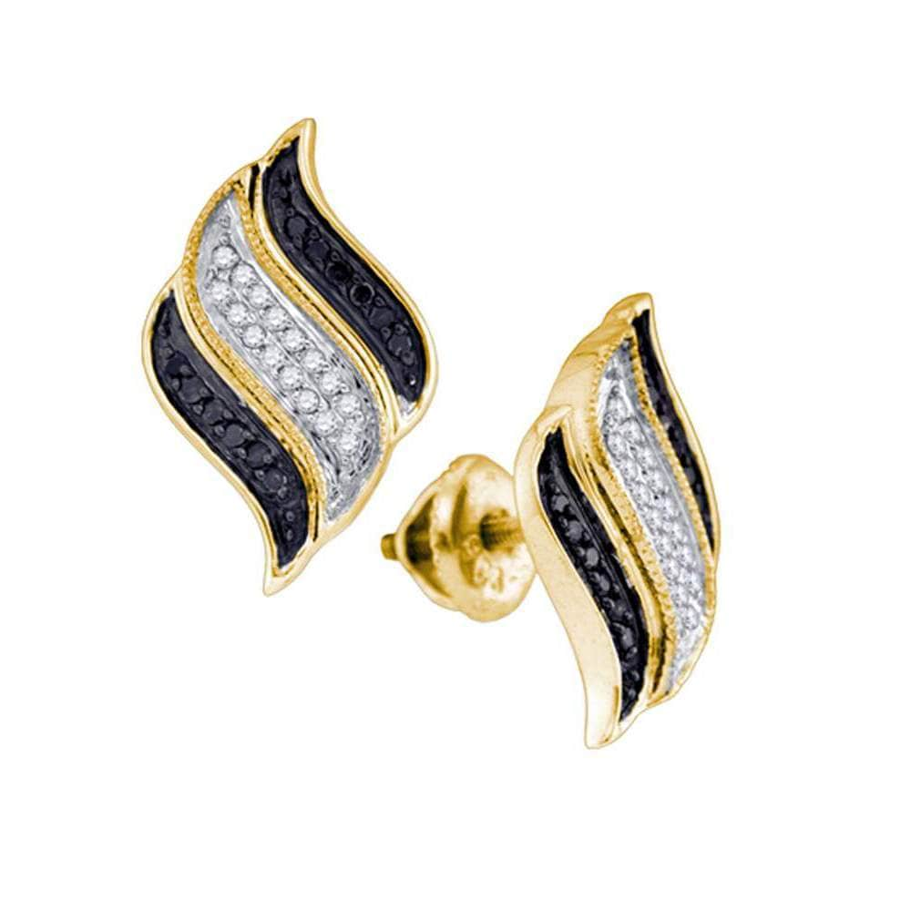 10kt Yellow Gold Womens Round Black Color Enhanced Diamond Cascading Stud Earrings 1/4 Cttw