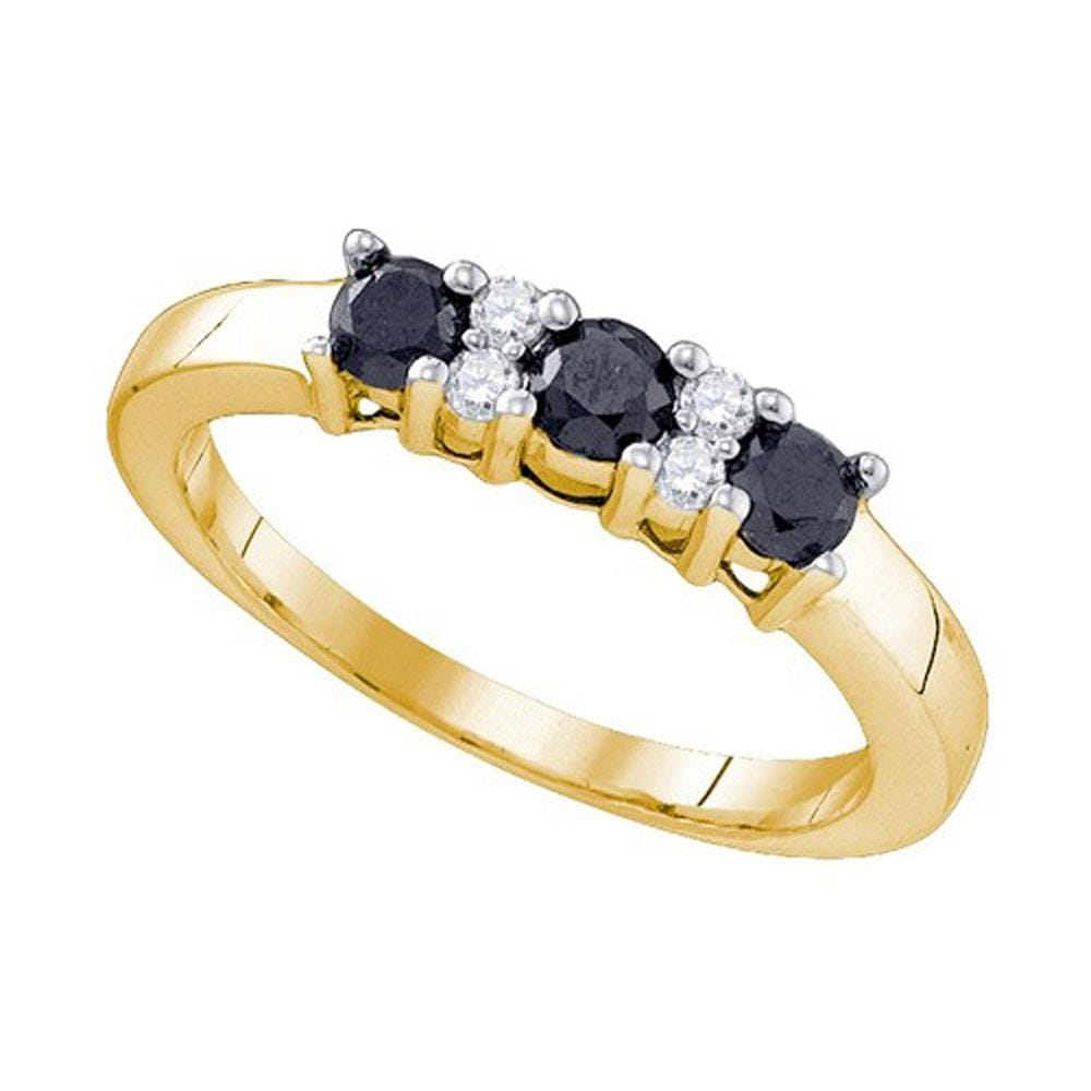 10kt Yellow Gold Womens Round Black Color Enhanced Diamond Band Ring /8 Cttw