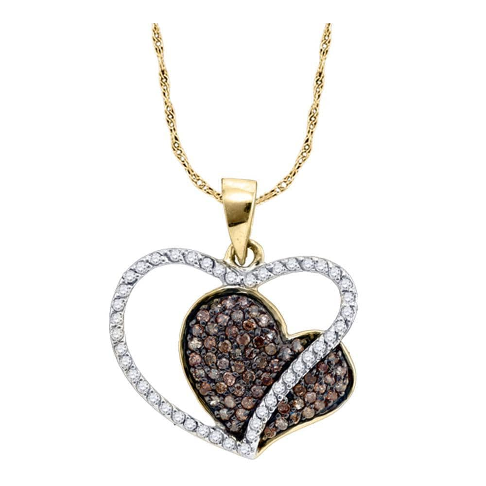 10kt Yellow Gold Womens Round Brown Color Enhanced Diamond Heart Pendant 3/8 Cttw